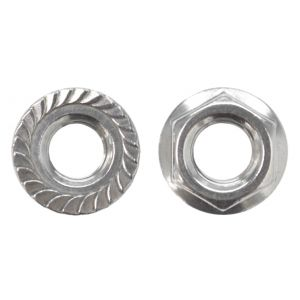 1/4-20 Serrated Hex Flange Nut 18-8 Stainless Steel - 100 pcs per bag